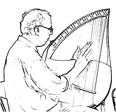 Line drawing of John with Wright-Lyre